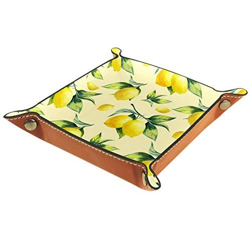 LynnsGraceland Bandeja de Cuero - Organizador - Fruta Limón Amarillo Acuarela -...