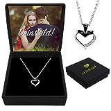 Herzkette 925 Silber Echtsilber mit Zirkonia | inklusive mit deinem Foto | goldene Gravur mit Geschenkbox | Halskette mit Anhänger | Perfekte Geschenkidee für Paare oder Familie | Premium Qualität