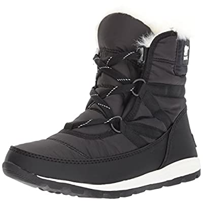 Sorel Women's Whitney Short Lace Snow Boot, Black, Sea Salt, 7.5 M US