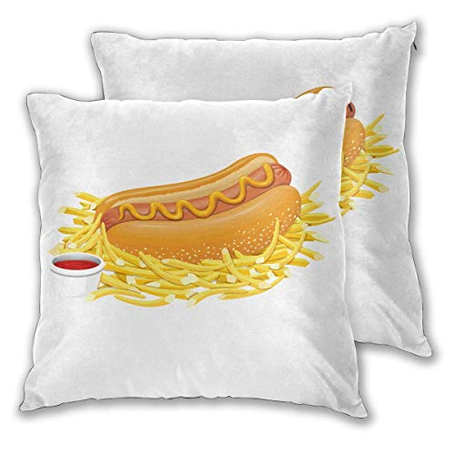 AEMAPE Quadratische Kissenbezüge, Hot Dog mit Ketchup 2er Pack Dekorative Kissenbezüge Kissenbezüge für Sofa Schlafzimmer Auto 40X40 cm