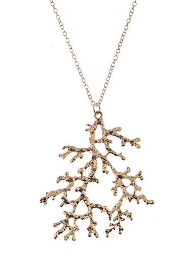Alilang Golden Boho Vintage Minimalistic Coral Branches Marine Pendant Beach Necklace Gift