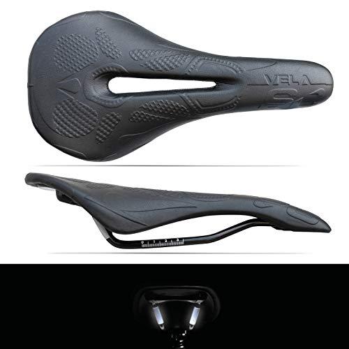 Sella per Bicicletta MTB Race Bici da Corsa Vela SC Volcano Inserti Reflex 3M Anatomica MORPHOS con Foro Centrale (Total Black)