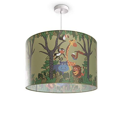 Kinderlampe Deckenlampe LED Pendelleuchte Kinderzimmer Dschungel Tier-Motiv E27, Lampenschirm:Grün (Ø45.5 cm), Lampentyp:Pendelleuchte Weiß