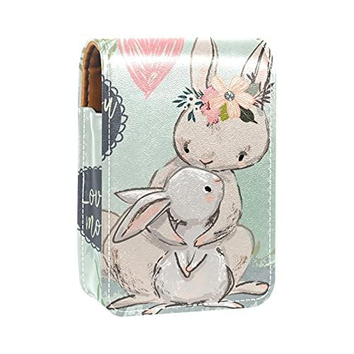 Estuche de lápiz Labial para Bolsa de Maquillaje para Exterior Mini Bolsa de Viaje Estuche cosmético Conejo con Hijo Mejor mamá para Mujeres Regalos