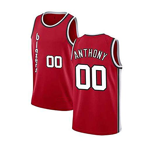 BXWA-Sports Basketball Trikot NBA # 00 Carmelo Anthony Trail Blazers Stadt Ausgabe Verschleißfeste Basketball-Trikot Fitness Sport T-Shirt Jerseys,M(175cm/65~75kg)