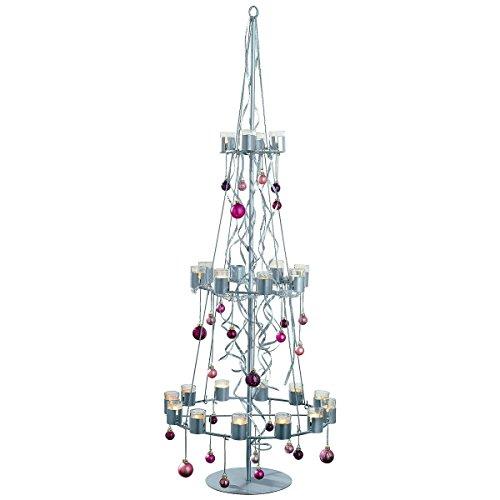 Pureday Teelichthalter Weihnachtsbaum Metall/Glas ca. 170 cm hoch