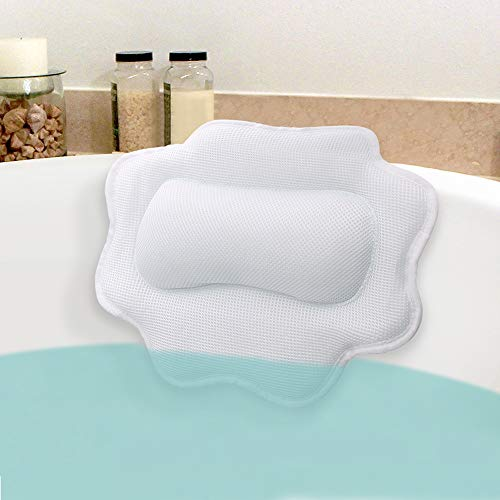 Beautybaby Anti-Mold Bathtub Spa Pillow, Non-Slip 4 Strong Suction Cups, bath pillows for tub, Head, Neck, Shoulder Support, Breathable Relax Comfort