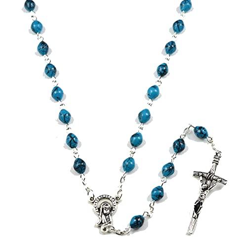 Collar De Rosario Católico De Cuentas Triple Azul Negro Collar De Rosario De Cuentas Ovaladas Longitud 56 Cm