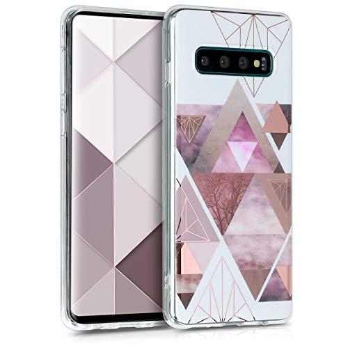 kwmobile Hülle kompatibel mit Samsung Galaxy S10 - Handyhülle Silikon Hülle - Glory Dreieck Muster Rosa Rosegold Weiß
