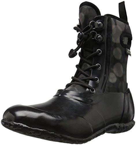 Bogs Sidney Kids Waterproof Lace Up Rain Boot for Boys and Girls, Black/Multi, 1 M US Little Kid