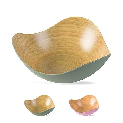 BIOZOYG Stylisch & nachhaltig - Salatschale Bambus geschwungen I BPA freie Schüssel Obstschale Dekoschale Holzschale Bambusschale I Bambus Holz Salatschüssel Gross 30 x 29 x 12 cm grün