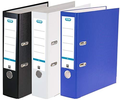 Elba Ordner A4 smart Pro, Kunststoff, 8 cm breit, 3 Farben, schwarz weiß blau, 3er Pack