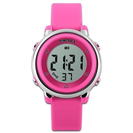 Los niños de relojes reloj deportivo con cronómetro y 7LED retroiluminación función tiempo maestro azul & blanco & verde correa de silicona de niños niñas watch-hot rosa