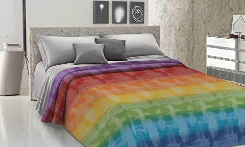 ALAMBRA - Colcha para cama de matrimonio individual de una plaza y media, primavera, verano, piqué, fabricada en Italia, manta de algodón ligera, diseño de arcoíris, multicolor