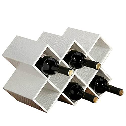 SGSDG Durable Sencilla Blanca Estante de Vino Establo De Cuero De Tablero De Madera Botellero Vino Adorno Creativo Botellero Vino para El Hogar Almacenados Ocho Botellas De Vino