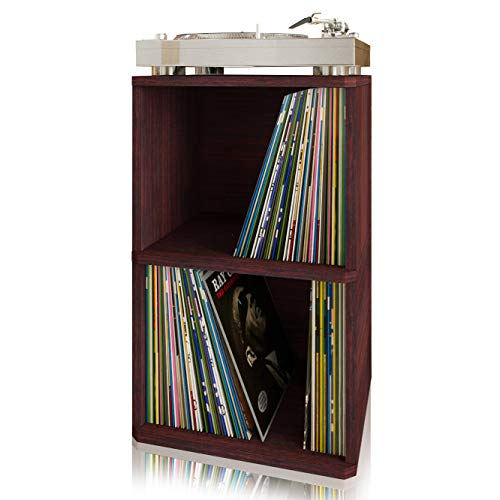 Way Basics Vintage Vinyl Record Cube 2-Shelf Storage, Organizer - Fits 170 LP Albums (Tool-Free Assembly and Uniquely Crafted from Sustainable Non Toxic zBoard Paperboard) Espresso
