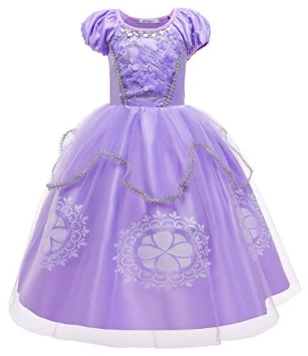 YOSICIL Vestido Princesa NiaDisfraz Princesa Sofia Vestido de Fiesta Tul Manga Corta Halloween Cumpleaos Navidad Cosplay Ceremonia Boda 3-9 Aos Bordado Floral Cristal