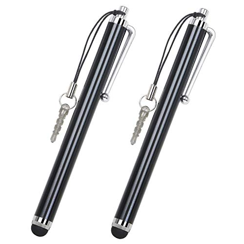 AMAZING1 Smart Phone Pens Styli 2 x Black Stylus Pens for Mobile Phones and Tablets Compatible With Mobile Phones, Tablets, iPads, iPhones, Samsung Galaxy Note/Tab, LG & HTC, Kindle Fire etc