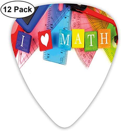 Plektren - 12er Pack, ich liebe Mathe-Themen-Objekte Herz-Symbol Taschenrechner Kompass und Lineal, für E-Bass-Akustikgitarre