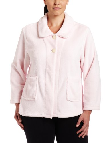 Casual Moments Womens Plus-Size Bed Jacket With Peter Pan Collar, Light Pink, 2X