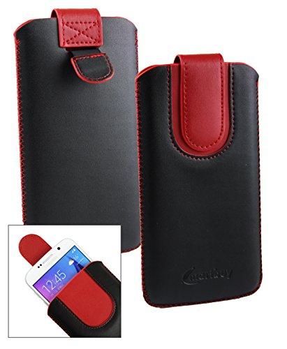 Emartbuy® Schwarz / Rot Premium PU Leder Slide in Hülle Tasche Sleeve Halter ( Größe LM4 ) Mit Pull Tab Mechanism Passend für General Mobile GM 5 Plus