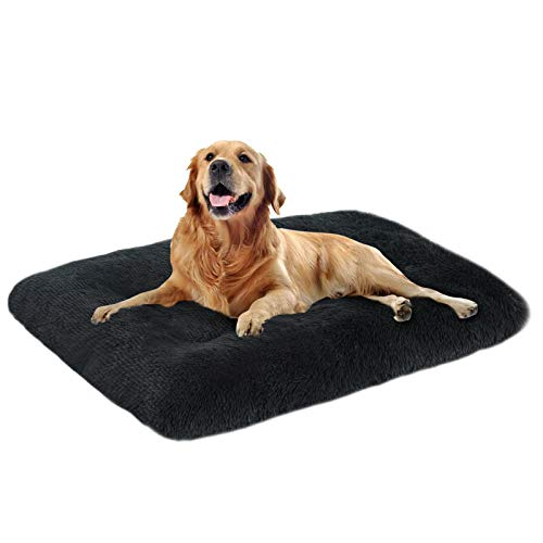 OXS Dog Bed Long Plush Pet Bed, Comfortable Faux Fur Washable Crate Mat for Jumbo Large Medium Dogs with Anti-Slip Backing