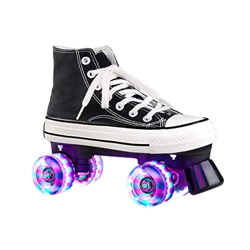 ZXSZX Zapatos para Damas Y Caballeros, Adultos Cómodos LED Rollerskates Quad Patinaje Al Aire Libre para Niñas Y Niños, Schwarz-42