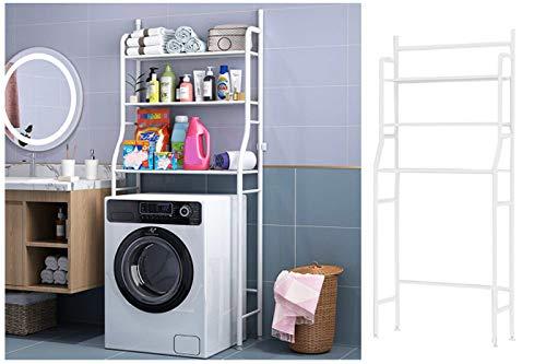 Scaffale salvaspazio lavatrice bagno 3ripiani mobile bianco lavanderia 155x62x25
