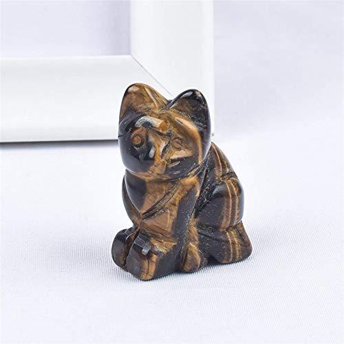 DANHUI Piedras Preciosas Naturales Ojo de Tigre Gato figuritas Mini Animales artesanía Tallada Estatua para niños decoración del hogar minerales Cristales de Cuarzo