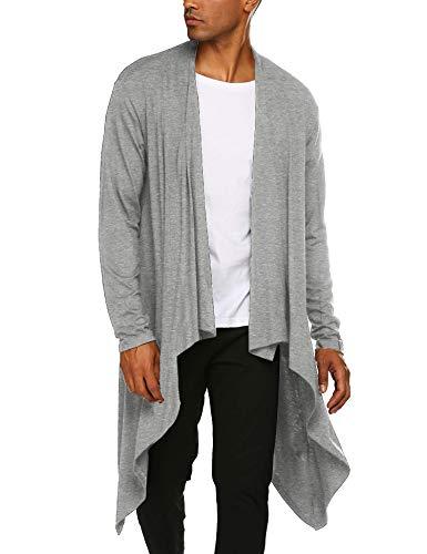 COOFANDY Men's Ruffle Shawl Collar Cardigan Sleeveless Open Front Vest Lightweight Cotton Long Length Drape Cape (Grey(Long Sleeve), Medium)