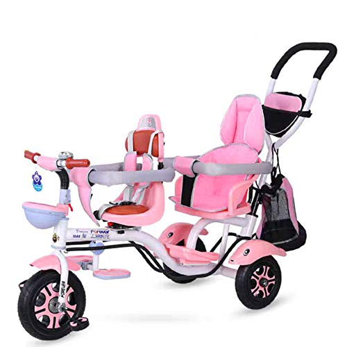Children's Push Driewieler, Children's Double Bike, High Carbon Steel Wandelwagen 1-7 Jaar Oude Baby Wandelwagen