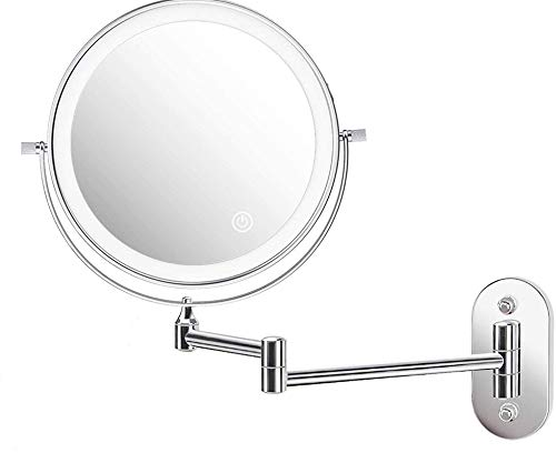 ZEPHBRA Kosmetikspiegel LED Beleuchtet mit 1X / 5X Vergrößerung, Dimmbarer Schminkspiegel mit Touchschalter USB Wiederaufladbar, Rasierspiegel 360° Schwenkbar Wandmontage für Badezimmer, Spa und Hotel