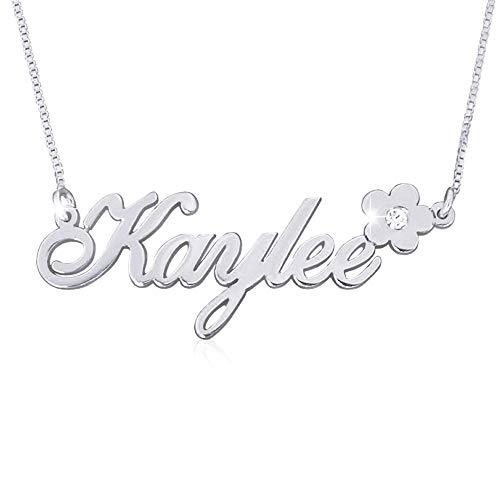 Collar con nombre personalizado cadena plata mujer 925 con colgantes joyas para mujer (Plata)