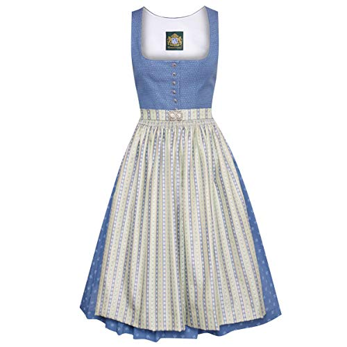 Hammerschmid Damen Trachten-Mode Midi Dirndl Pillersee in Blau traditionell, Größe:46, Farbe:Blau