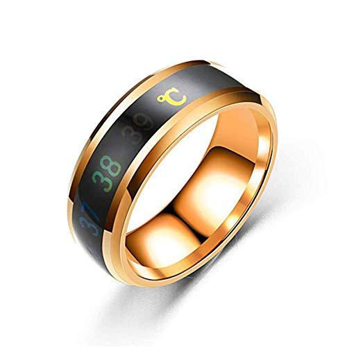 JXFS Temperatur-Monitor-Ringe, digitales Thermometer, Körpertemperatur-Sensor, Smart-Ringe, Eheringe, Paare, Liebhaber, geeignete Größe, Titanstahl, Wellen-Ringe, Gold-10#