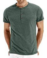 NITAGUT Mens Fashion Casual Front Placket Basic Short Sleeve Henley T-Shirts (2XL, 00 Green)