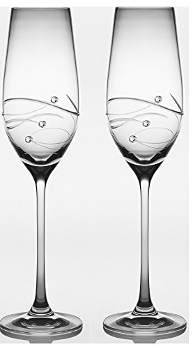 Barski - Handmade Glass - Set of 2 - Wedding Toasting Champagne Flutes - Glasses Are Decorated with Real Swarovski Diamonds - Packed In a Premium Gift Box - 7 oz. - Made in Europe