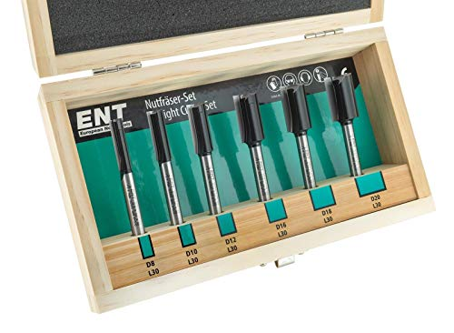 ENT 6-tlg. 09010 6-tlg. Nutfräser Set - extra lang 90 mm - Hartmetall Grundschneide zum Einbohren Z2+1 - Ø 8-10-12-16-18-20 mm - Schaft Ø 8 mm