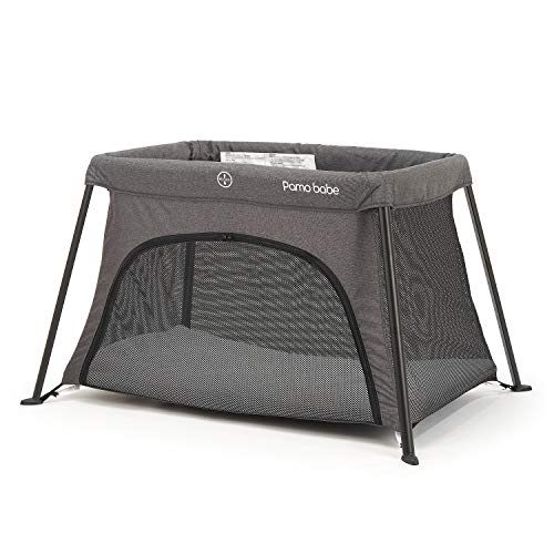 Lightweight Foldable Travel Crib, Portable Play Yard with Carry Bag for Infant Toddler Newborn(Grey)