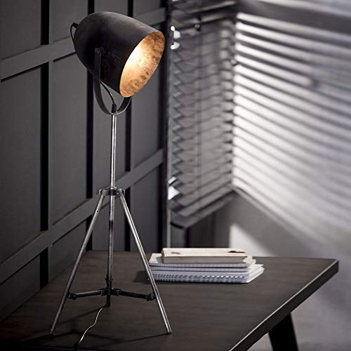 Famlights Tina Tafellamp, vintage, zilver, 1 lamp, E27, industrieel design, elegante tafellamp voor woonkamer, slaapkamer, driepoot retro designerlamp, bedlampje, moderne vloerlamp