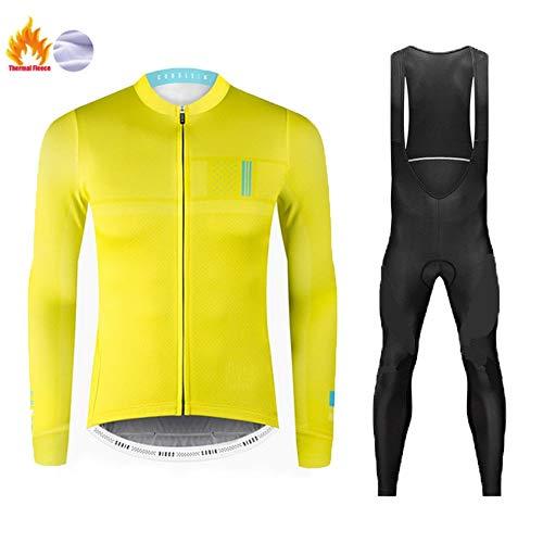 Pile Termico Invernale Maglia da Ciclismo, Abbigliamento da MTB da Uomo con Pantalone con Bretelle in Gel 9D Warm (Colore : D, Taglia : L)