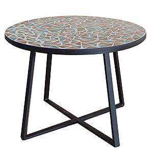 Mesa de jardín de Comedor de cerámica Negra de 75x90 cm - LOLAhome: Amazon.es: Hogar