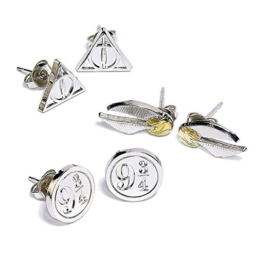 Harry Potter Earrings 3-Pack Snitch/Deathly Hallows/Platform 9 3/4 (silver plate