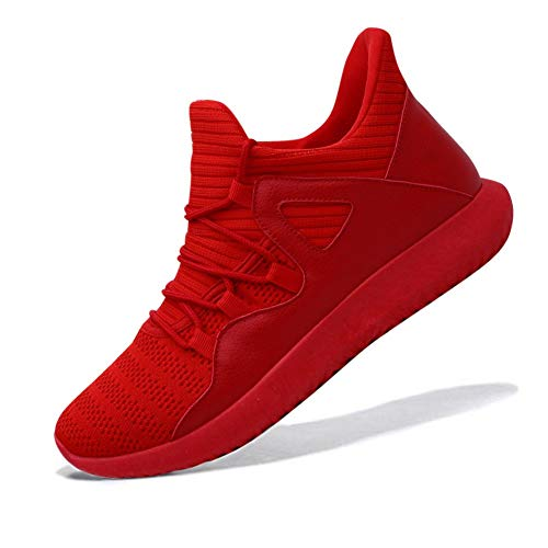 MAIERNISIJESSI Men's Women's Casual Lightweight Trainers Breathable Mesh Sneakers Running Shoes, A-red, 12 Women/10.5 Men