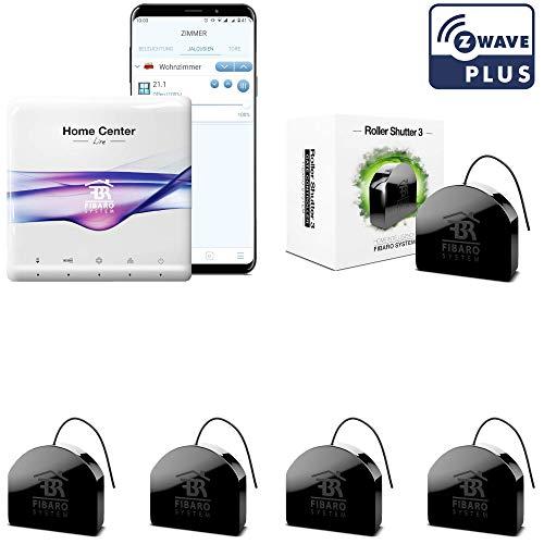 FIBARO Rolladensteuerung Komplettset. Z-Wave Smart Home System für 5 elektrische Rolläden oder Jalousien mit gratis App. Ideal zur Nachrüstung. Alexa kompatibel.