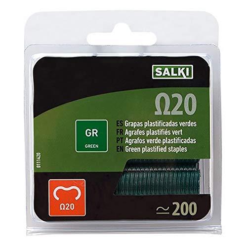Salki 0111620 Blister 1000u Grapas Verdes Omega 20 (Ω20) para Grapado y Anillado de Cercas, Metal, L