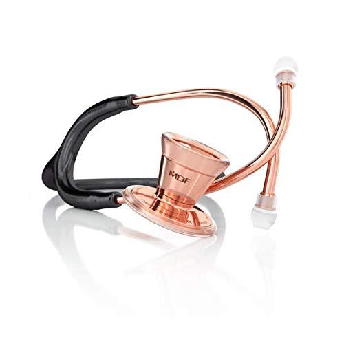 MDF ProCardial Estetoscopio de Cardiología, Doble Cabeza, Adulto, MDF797 (Oro Rosa/Negro, Acero Inoxidable)