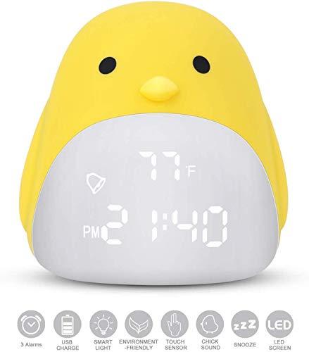 7777777 kinderwekker, beeldscherm alarm, temperatuurweergave alarm, schattige chick-wekker voor meisjes jongens, kindernachtlampje horloge met 3 kleurveranderingen, slaaptrainer kinderen