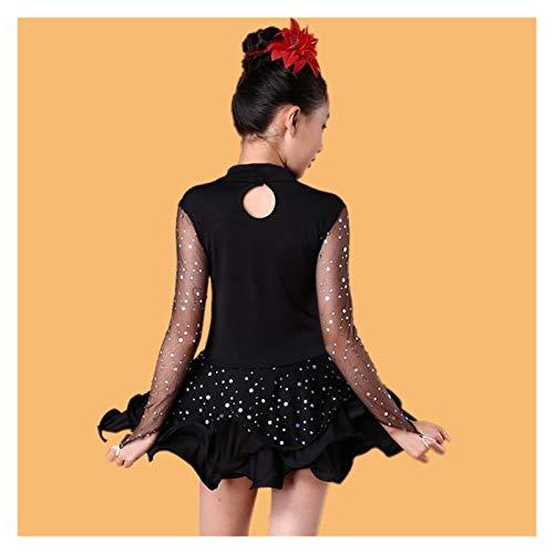 GuanRen Vestido de competición para niños de Baile Latino para Bailar Salsa/salón de Baile/Tango/cha Adulto bebé niña Escenario Rendimiento vestigio Femenino (Color : A5, Size : Dress 150CM)