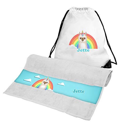 Eurofoto Handtuch + Turnbeutel Set mit Namen Jette und Llama-Einhorn-Motiv für Mädchen | Handtuch und Turnbeutel Bedruckt |